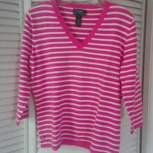 Ralph Lauren Pink w/ White Stripes V Neck Sweater